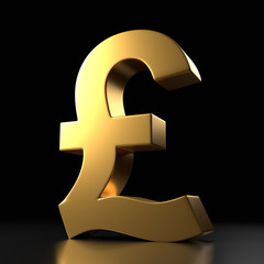 Golden pound sign isolated on black background. 3d rendering illustration