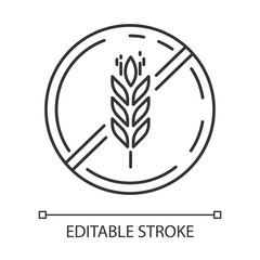 Gluten free linear icon. Organic food. Product free ingredient. Healthy bread. Celiac prevention. Thin line illustration. Contour symbol. Vector isolated outline drawing. Editable stroke