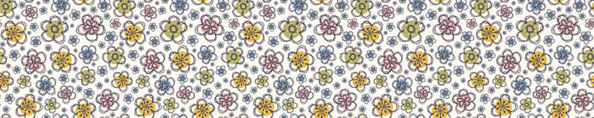 Modern Doodle Daisy Seamless Border Pattern. Hand Drawn Scribble Flower Repeat . Dot Blossom Background. Organic Vintage Summer Textile Edge, Packaging Banner Ribbon Trim. Cute Washi Tape Vector EPS10