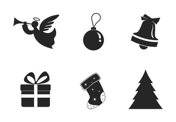 set of Christmas symbol icon. Christmas design element. isolated vector silhouette image