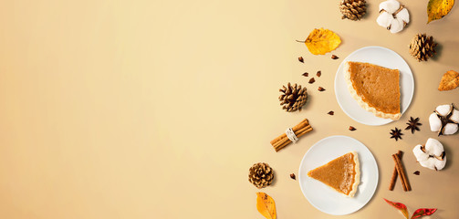 Wall Mural - Autumn theme with pumpkin pies - overhead view