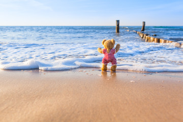 Summer Beach Pleasure / Cute little teddy bear wear vintage red white striped swimsuit, standing at beach shore and enjoy waves of the sea (copy space)