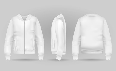 Blank white jacket bomber in front, back and side views. Vector illustration. Realistic bomber for sport and urban style