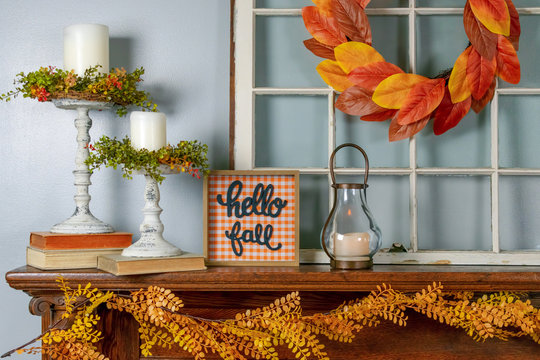 Cozy fall decorations on the mantel - cozy home decor