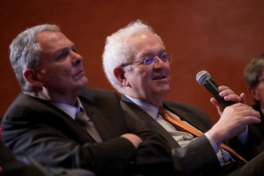Jose Antonio Ocampo speaks during a report launch in Bogota