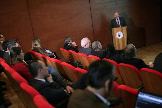 Alejandro Werner of the IMF speaks in Bogota