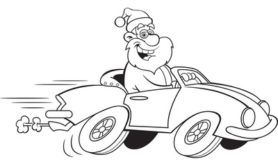 Black and white illustration of Santa Claus driving a sports car.