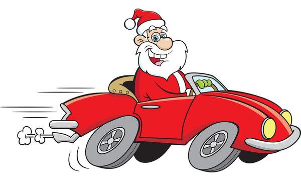 Cartoon illustration of Santa Claus driving a sports car.
