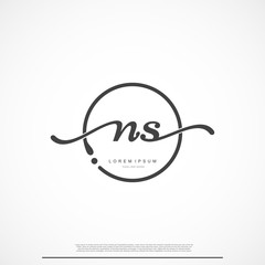 Elegant Signature Initial Letter NS Logo With Circle.