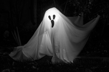 White Ghost on Dark Background. Spooky Ghost Isolated in Darkness for Halloween Spirit.
