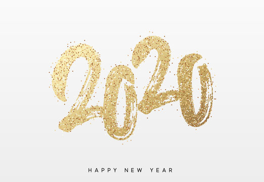 2020 New Year. Text golden with bright sparkles