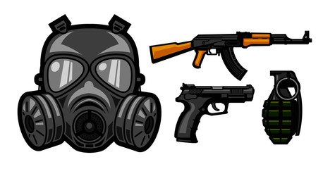 gas mask and weapon for icon