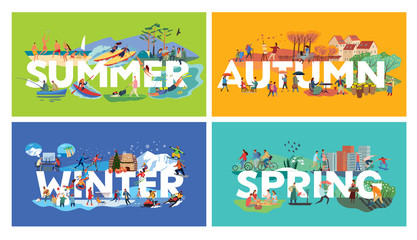 Lettering Summer, Autumn, Winter, Spring and themed plots. Set. Around letters genre pictures with human activities. Vector hand full color graphics