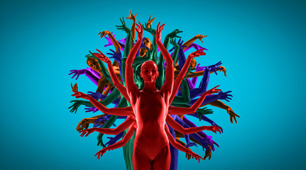 The group of modern ballet dancers like a bright tree. Contemporary art ballet. Young flexible people in tights. Copyspace. Concept of dance grace, inspiration, creativity. Made of shots of 5 models.