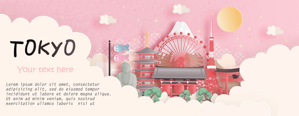 Fototapete - Tour and travel advertising, postcard, panorama poster of world famous landmark of Tokyo, Japan in paper cut style vector illustration.