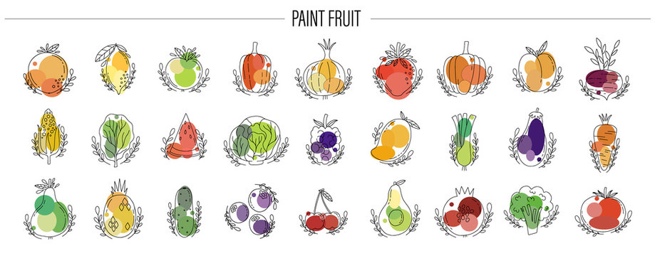 Icon fruit and vegetable set. Hand drawn naive style.