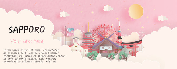 Fototapete - Tour and travel advertising, postcard, panorama poster of world famous landmark of Sapporo, Japan in paper cut style vector illustration.