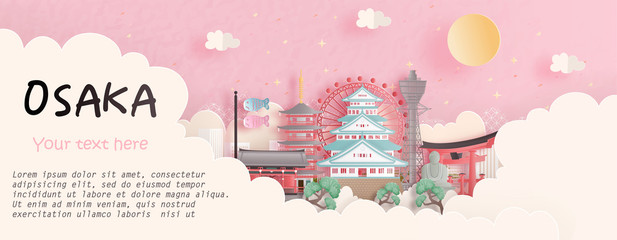 Fototapete - Tour and travel advertising, postcard, panorama poster of world famous landmark of Osaka, Japan in paper cut style vector illustration.