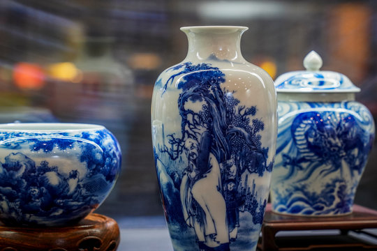 Blue and white porcelain vase at the exhibition