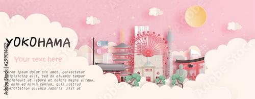 Fototapete Tour and travel advertising, postcard, panorama poster of world famous landmark of Yokohama, Japan in paper cut style vector illustration.