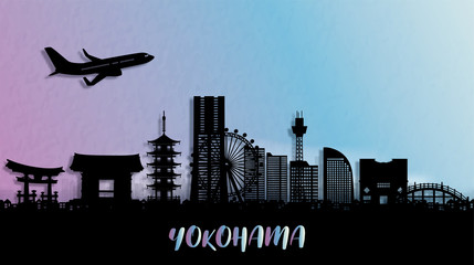 Fototapete - Silhouette panorama view of Yokohama city skyline with world famous landmarks of Japan. Vector illustration.
