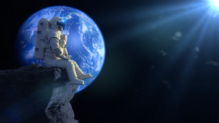 astronaut sitting on a cliff on the Moon in front of planet Earth