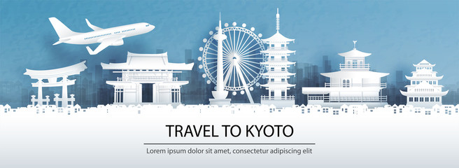 Fototapete - Travel advertising with travel to Kyoto concept with panorama view city skyline and world famous landmarks of Japan in paper cut style vector illustration.