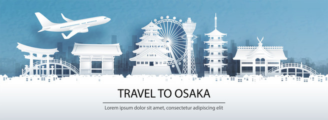 Fototapete - Travel advertising with travel to Osaka concept with panorama view city skyline and world famous landmarks of Japan in paper cut style vector illustration.