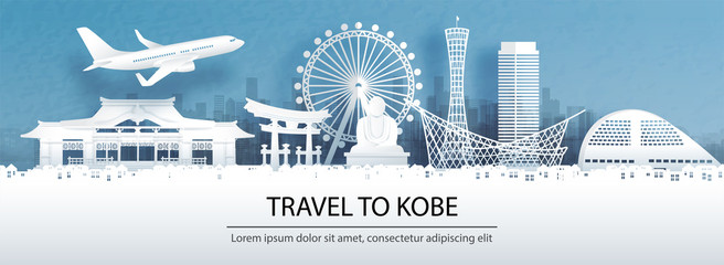 Fototapete - Travel advertising with travel to Kobe concept with panorama view city skyline and world famous landmarks of Japan in paper cut style vector illustration.
