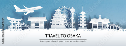 Fototapete Travel advertising with travel to Osaka concept with panorama view city skyline and world famous landmarks of Japan in paper cut style vector illustration.