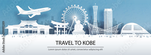 Fototapete Travel advertising with travel to Kobe concept with panorama view city skyline and world famous landmarks of Japan in paper cut style vector illustration.