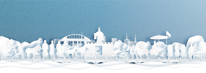 Fototapete - Panorama view of Xian skyline with world famous landmarks of China in paper cut style vector illustration.