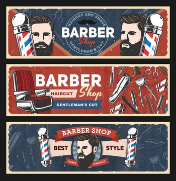 Barbershop razors, retro poles, haircut shavers