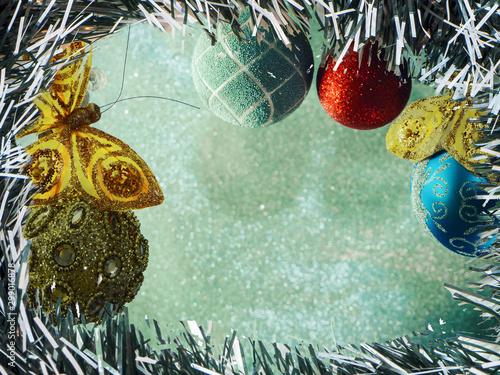 Fir tree decoration. Light background. New Year mood