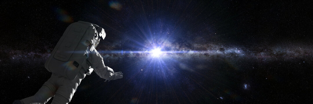 astronaut in outer space flying towards the center of the Milky Way galaxy