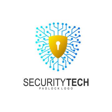 Shield security logo design vector. shield logo and padlock design vector