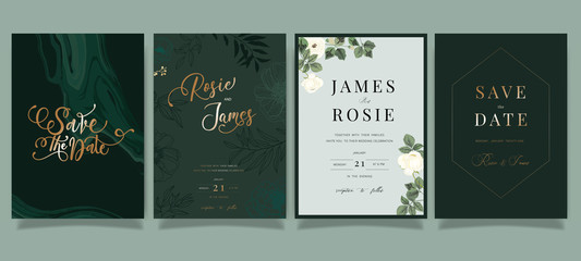 Mix Emerald green Luxury Wedding Invitation, floral invite thank you, rsvp modern card Design in white peony with  leaf greenery  branches decorative Vector elegant rustic template