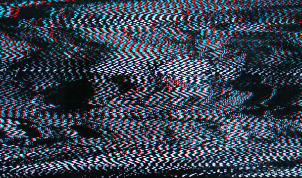 Television failure, LCD Screen glitch, LCD screen as abstract technology background.