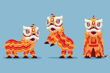 Acrobatic Chinese Traditional Lion Dance Illustration