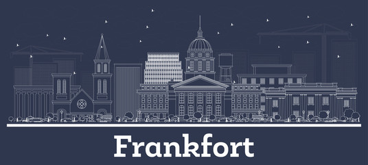 Outline Frankfort Kentucky USA City Skyline with White Buildings.