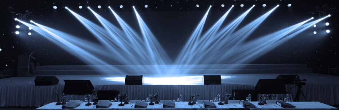Empty stage and concert lighting background in award ceremony theme creative or singing contest