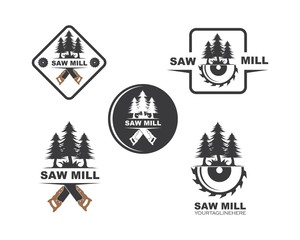 saw and pines tree  logo icon vector illustration