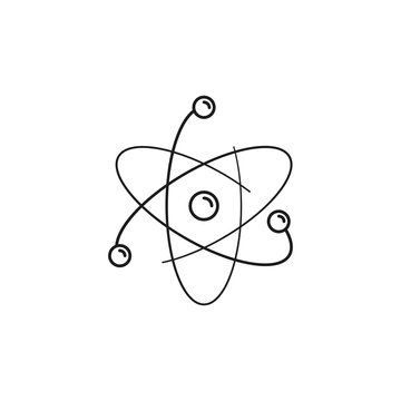 Atom illustration. Flat and isolated on white background. Outline thin line icon.
