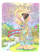 Drawing beautiful Japanese woman in kimono with umbrella,  river and  park