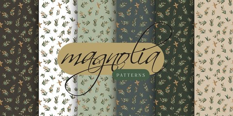 Magnolia Leaves Seamless Pattern