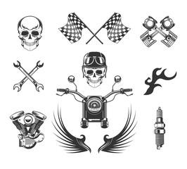 Bikers club isolated icons, motorcycle races, skulls