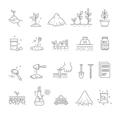 Priming works, gardening and horticulture, landscaping isolated icons