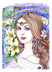 Watercolor drawing beautiful young woman with lily flowers