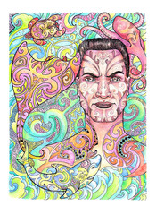 Drawing Maori warrior with tattoos, stingray, shark