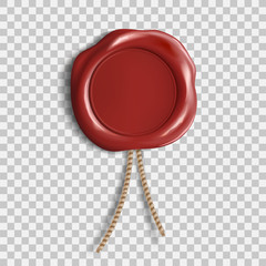 Red wax seal. Template isolated on transparent background